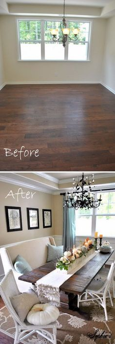Elegant Rustic Dining Room Makeover.                                                                                                                                                                                 More