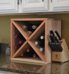 Wine Storage Cabinet Cube Holder 12 Bottle Kitchen Home Redwood Wood VinoGrotto  #VinoGrotto
