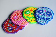 4 Piece Glow In The Dark Sugar Skull Coasters by popthatcassette