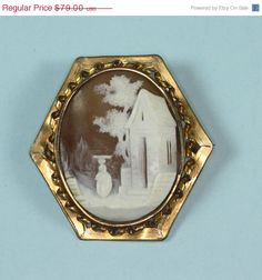 Rebecca at the Well Cameo Brooch Victorian Gold by PastSplendors