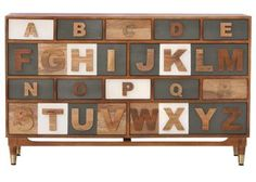 Alphabet Dresser from Home Decorators Collection.  Quirky,yes, but in the right space, a whole lot of fun.