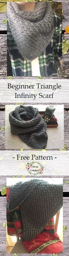 Free Pattern for a beginner-friendly crochet Triangle Infinity Scarf