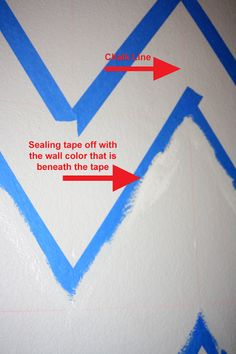 When painting lines, seal tape with original wall color, then paint the stripe color. If any paint leaks through, it will be the first layer of the original wall color.