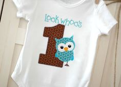 Boys Birthday Party Hat, Diaper Cover and Tie - First Birthday, Smash Cake Pics, Photo Prop - Look Whoos One Owl. $56.00, via Etsy.