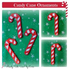 Plastic Canvas: Candy Cane Ornaments (set of 3) -- Make a minty statement with your tree ornaments this year, or tie a festive treat to a hostess gift!