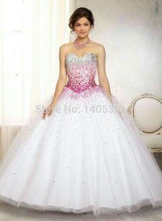 Vestido de 15 anos longo degradê rosa, prata e branco