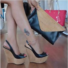 Online Shop 2019 spring and summer new fish mouth with buckle wedge sandals super high heel fashion sandals female large size Wedge Sandals Outfit, Fashion Sandals, Wedge Shoes, Shoes Heels, Women's Pumps, Cute Shoes, Me Too Shoes, Pantyhose Heels, Beautiful High Heels