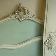 A delightful French bed painted with a perfect asymmetrical shell carved with foliage - pure Rococo.  Painted in Duck Egg Blue with a little Antibes and Old White.