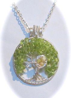 Peridot Gemstone Tree of Life with Ethiopian by Mariesinspiredwire, $45.00