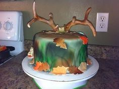 Deer Antlers camo cake! Fondant covered and airbrushed