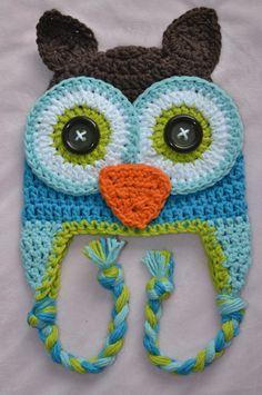 owl hat, crochet owl hat, boys owl owl, crochet kids hat, crochet baby hat. $25.00, via Etsy.