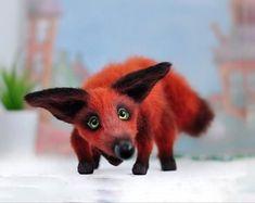 Crochet red fox Funny gift idea Stuffed animal for home decor Cute Sloth, Cute Fox, Handmade Toys, Etsy Handmade, Cute Gifts, Funny Gifts, Crochet Bunny Pattern, Mohair Yarn, Easter Crochet