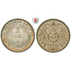 Deutsches Kaiserreich, 1 Mark 1911, E, f.st, J. 17: 1 Mark 1911 E. J. 17; fast stempelfrisch 35,00€ #coins