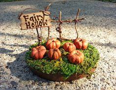 Fairy Garden Fence Pumpkin Patch Hollow Fall Autumn Halloween Gift Sign Fairies Miniature Tin Wood Painted Mini Fae Faeries Tiny Cute Decor