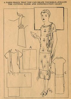 Home Sewing Tips from the 1920s - A Smart Parisian Frock with Cascading Drape