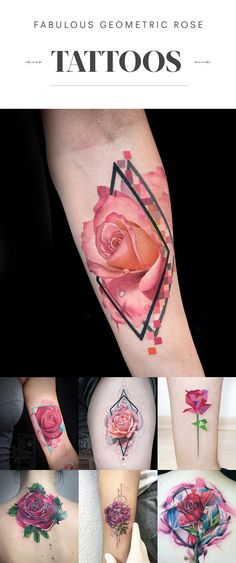 Lovely ideas for your next tattoo #rose #geometric #tattoo #colorful