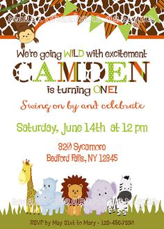 Wildlife/Safari Themed Birthday Invitation by SweetCheekersDesigns, $10.00