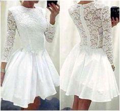 Classy White Long Sleeve Lace Dress