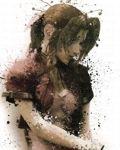 """Aerith+redone+in+a+Grunge+Paint+Style  Image+size:+12""""x18""""+ Paper+size:+12""""x18""""+ Signed Photo+Gloss+or+Matte+ No+frame+included+with+print Real+poster+does+not+have+the+watermark+"""
