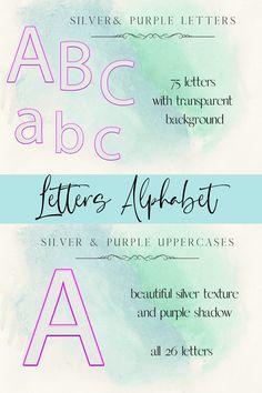 Silver letters, Purple sparkle digital alphabet #decorativealphabet #weddingtypography #purplesilvernumbers Alphabet, Wedding Typography, Purple Sparkle, 26 Letters, Design Bundles, Commercial, Clip Art, Scrapbook, Lettering