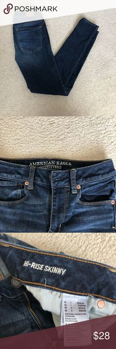 💘👖 AMERICAN EAGLE HIGH RISE SKINNY JEANS Beautiful, only worn a few times American Eagle jeans!!  American Eagle size 2, 26 in waist, 28 in inseam!! In a medium-dark wash, skinny fit. True to size, medium thickness of material. Sturdy yet flexible material. PRICE TOO HIGH?? MAKE AN OFFER!! Original price $50 American Eagle Outfitters Jeans Skinny