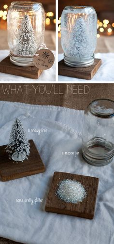 DIY Anthropologie Mason Jar Snow Globes | Click Pic for 22 DIY Winter Wedding Ideas Dollar Stores | DIY Winter Wonderland Wedding Ideas