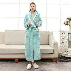 Women Winter Thick Warm Coral Fleece Kimono Bathrobe Gown Robe Dress Lovers  Yukata Nightwear Pijama Sleepwear Plus Size XXXL 6e2d51b4a