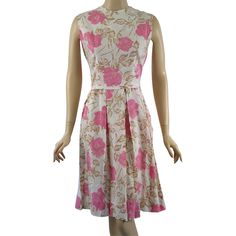 Vintage 1960s Shirtwaist Summer Dress Cream w/ Pink Roses B38 W29  Offered by Ruby Lane Shop Alley Cats Vintage