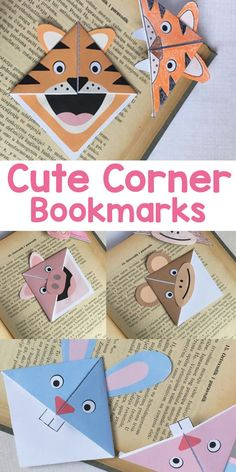 Make these adorable character animals corner bookmarks. Perfect origami for kindergarten and preschool as it's easy quick and fun. encourage reading as a studio activity? Quick Crafts, Crafts To Do, Paper Crafts, Simple Crafts, Arts And Crafts Projects, Arts And Crafts Supplies, Craft Activities For Kids, Crafts For Teens, Kids Crafts