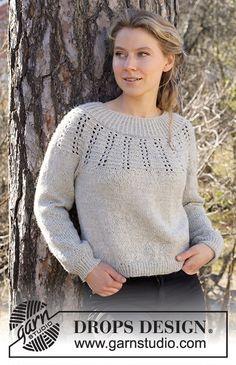 Mayan Moon Shine Sweater / DROPS 217-34 - Ilmaiset neuleohje DROPS Designilta Knitting Machine Patterns, Sweater Knitting Patterns, Lace Knitting, Knit Crochet, Crochet Patterns, Drops Design, Moon Shine, Work Tops, Knit Fashion