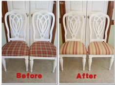 How to Recover a Chair Seat Cushion!  Easy step by step instructions to freshen up the decor in your dining rooms without sewing!