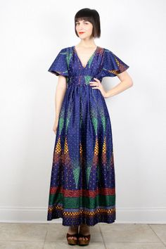 Vintage Hippie Dress Maxi Dress Navy Blue by ShopTwitchVintage #vintage #etsy #70s #1970s #hippe #maxi #navy #festival #angelsleeve #boho
