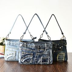 Rivet Vintage 3D Design Belt Fashion Denim Jeans Shoulder Bags Girls Handbags Crossbody Bag Women Messenger Bags bolsa feminina #Affiliate
