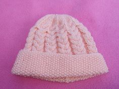 Hand knitted baby girl pink cabled beanie hat 0 - 3 months £3.50