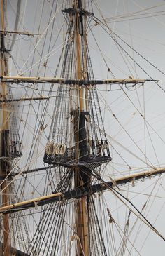 This is an EXCELLENT model in every way built by a skilled craftsman who unfortunately has made at least one blunder: You can not hang coils on the OUTSIDE of the Topmast Shrouds.The line could never be used properly and the crew would have trouble going over the futtock shrouds. And what if you drop the coil? One wonders if the cleats are on the outside of the shrouds too?