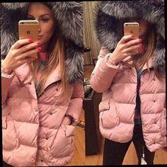 42.44$  Buy now - http://aliqlj.worldwells.pw/go.php?t=32766455772 - Winter Women Jackets Fashion Big Fur Hoody Warm Outer Wear Clothing Down Cotton Jacket Short Tops Plus Size Parka Dc24 Z25