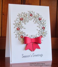 C C designs leafy branch die, My fav things dainty bow die, simon says stamp holiday hello's, Made by Meadie:
