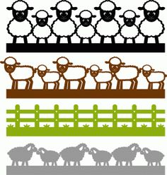 Silhouette Online Store - View Design #61146: sheep borders set