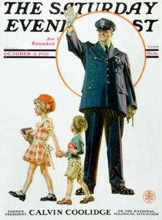 Saturday Evening Post - 1931-10-03: Policeman and School Children (J.C. Leyendecker)