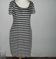 Darling Sweet & Sexy Ronni Nicole Wiggle Dress Ruched White Black Dots Size 8 #RonniNicole #WigglePencil #LittleBlackDress