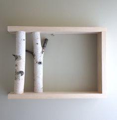 Wood + (Birch) Branches Wall Shelf