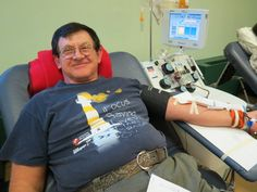 Nelson Rismiller donates platelets for his 173rd lifetime donation. — in Greenville, OH.