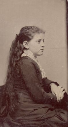 Rare Profile Tintype Photo of Young Lady Very Long Hair