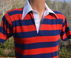 vintage 70s golf polo shirt STRIPE red navy rugby Medium Small preppy soft thin jc penney by skippyhaha
