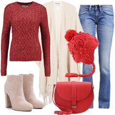 Delizioso outfit dove il colore rosso è dominante. Jeans bootcut, mantella offwhite e maglione biking red aderente. Per gli accessori ho scelto tronchetti beige con tacco largo e alto, borsa a tracolla red e splendido cappello con pon pon. Uno stile un po' retrò davvero perfetto per il tempo libero.