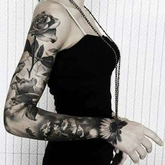 Black and White Sleeve Tattoo