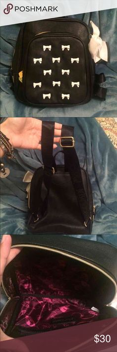 Betsy Johnson book bag New without tags. Ask any questions :) I don't trade Betsey Johnson Bags Backpacks