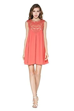 Little Smily Womens Casual Loose Lace Splicing Chiffon Mini Babydoll Flared Dress Coral S ** Check this awesome product by going to the link at the image.