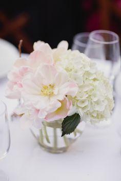 Fully-bloomed peonies and white hydrangea. Floral Design: Poppy Stone. Photography: Meg Messina Photography - www.megmessina.com Read More: http://www.stylemepretty.com/california-weddings/2014/06/16/sweet-st-helena-backyard-wedding/