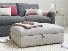 The Bumper is not only a seriously comfy footstool but also a nifty storage box for squirrelling stuff away. It also comes in over 60 fab fabrics. Storage Footstool, Blanket Storage, Blanket Box, Sofa Blanket, Living Room Storage, Storage Spaces, Living Room Decor, Velvet Footstool, Living Room Goals